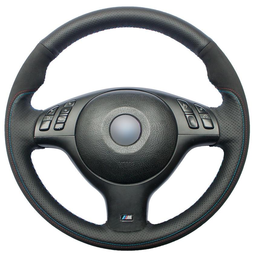 Hand stitched Black Genuine Leather Suede Car Steering Wheel Cover for BMW E46 E39 330i 540i 525i 530i 330Ci M3 2001 2003