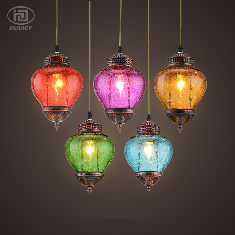 Loft Vintage Southeast Asian Art Cafe Droplight Colourful Glass Pendent Lamp Restaurant Coffee Shop Hanging Light Decorate Lamp loft american edison vintage industry crystal glass box wall lamp cafe bar coffee shop hall store club
