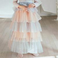 2019 New Fashion Baby Girls Mesh Princess Long Skirt Baby Girls Tutu Cake Skirts Children Cotton Gradient Skirt For 3 14Y Q465