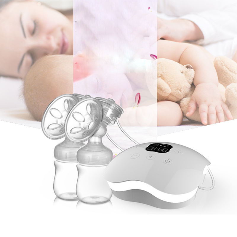 2017 Intelligent Automatic Bilateral Electric Breast Pumps Nipple Suction Milk Pump Breast Feeding Luminous Rechargeable Device new manufacturer direct low price pink usb breast pump milk powerful nipple suction breast bottle feeding electric breast pumps
