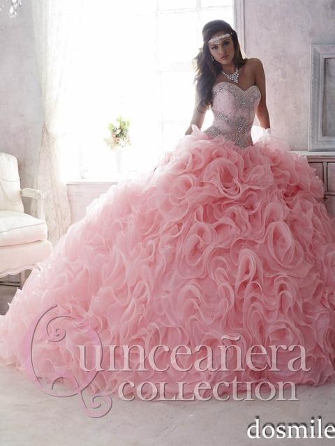 light pink quinceanera ruffle dresses