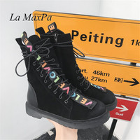 2018 Autumn Winter Women Boots Flat Flock Round Toe Martens Ankle Military Female Shoes For Ladies Mujer Rubber Letters Boots