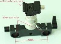 RailBlock Rod Clamp with hot shoe ball head fr 15mm Support Rail Rig Rail system