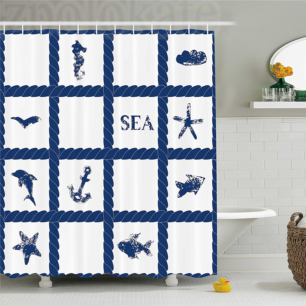 Navy Blue Decor Shower Curtain Navy Yacht Rope used as Frame with ...