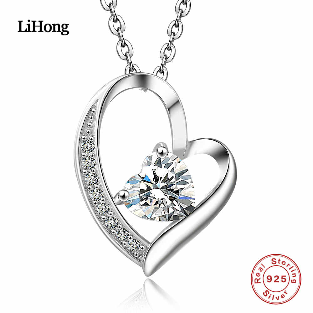Love 925 Sterling Silver Necklace Jewelry Collier Crystal Heart Pendant  Necklace Fashion Women Jewelry Bijoux Coeur