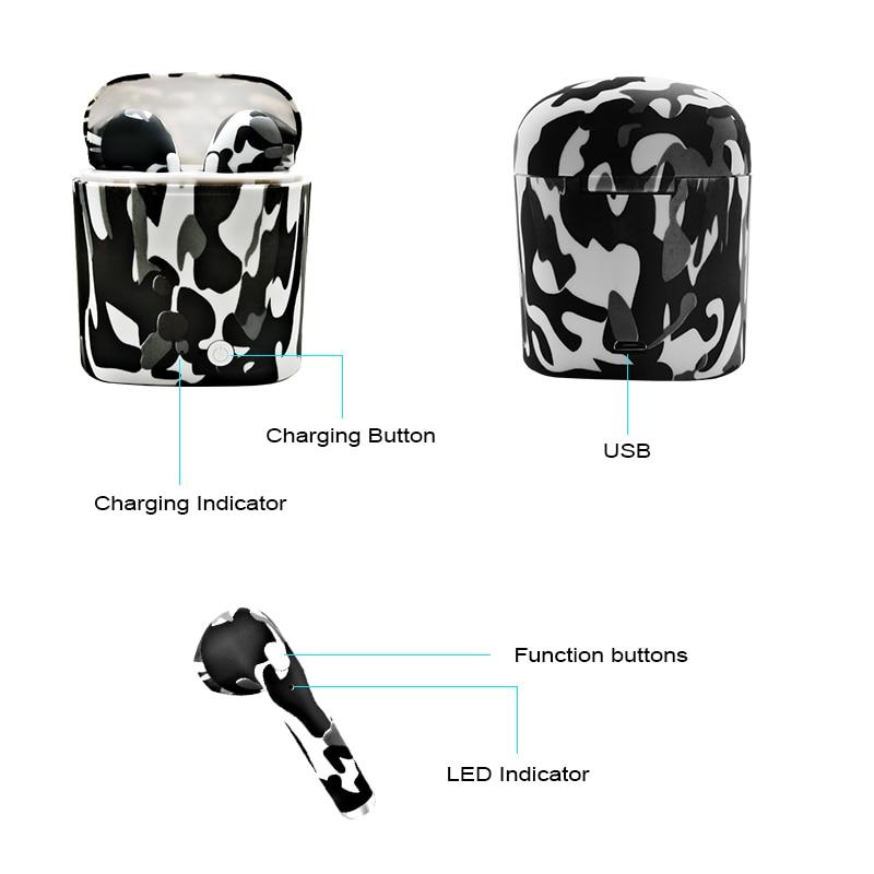 M&J I7S TWS Camo Earbuds Wireless Bluetooth Double Earphones All Bluetooth Mobile 9