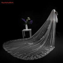 Новая свадебная вуаль с аппликацией по краям белого и цвета слоновой кости 3*4 метра Свадебные вуали с гребешком Новейшие свадебные аксессуары