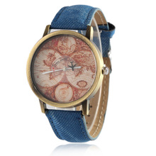 Fashion Casual Retro Mens Womens Wristwatch Simple World Map Face Couple Watch S