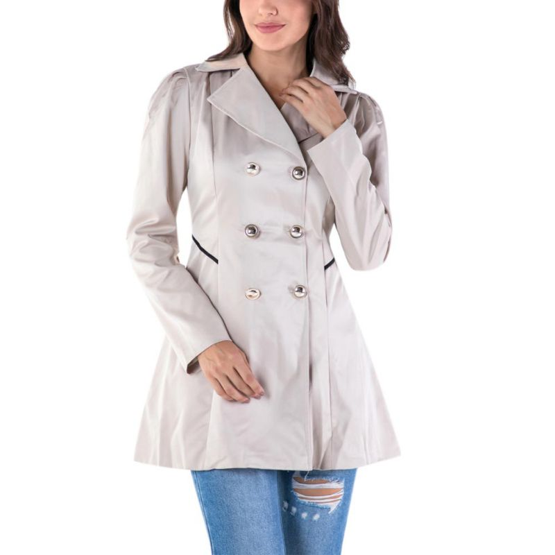 Women Elegant Windbreaker Coat Lapel Slim Double Breasted Outerwear Autumn Winter Casual Long-sleeved Solid Color Long   Trench   H