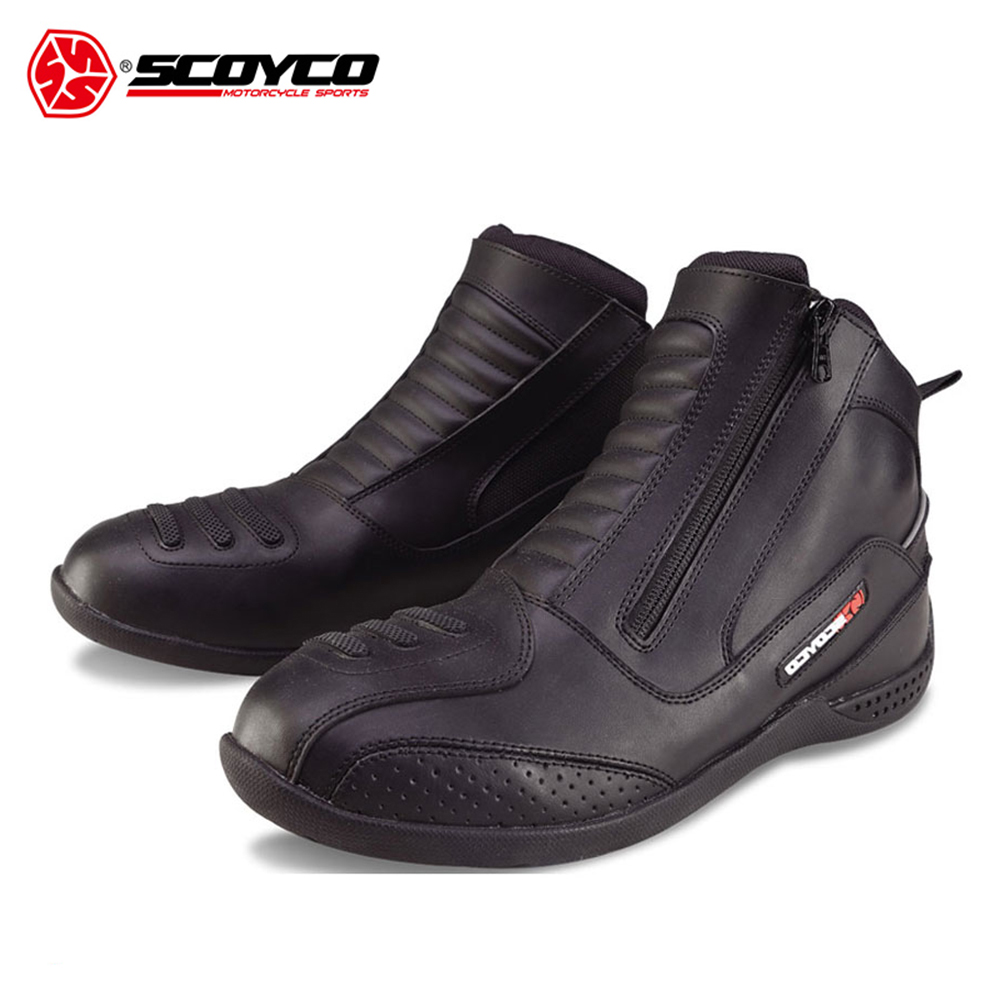 SCOYCO Leather Motorcycle Boots Men's Moto Vintage Ankle Boots Bota Motociclista Moto Shoes Motocross Motorcycle Shoes scoyco mbt002 motorcycle bicycle men s leather short boots black size 44