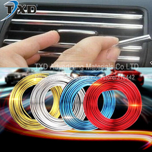 5M/Lot U Style decoration strip Grille Chrome car Automotive air conditioning outlet blade car styling tuyeres