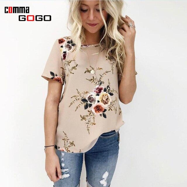 Fashion Bloemenprint T-shirt Vrouw Khaki O Korte Mouw Zomer 2017 Vrouwen  Tshirt Casual Losse