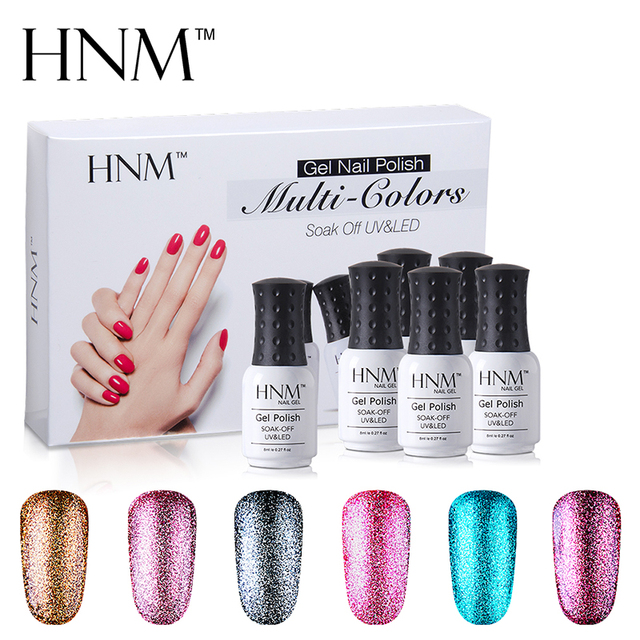 HNM 8ML UV Gel Nail Polish Set 6PCS/Set Nail Polish Gift Box Varnish ...