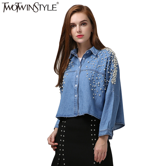 98642abede58 TWOTWINSTYLE Pearl Top Female Blouse Batwing Long Sleeve Women's Shirt Crop  Tops Denim Shirts Jeans Clothes Korean Big Size 2017