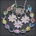 Estilo flor Colorida Gems 925 Esterlina Conjuntos de Jóias de Prata Para As Mulheres Brincos/Pingente/Colar/Anéis/Pulseira Caixa de Presente livre
