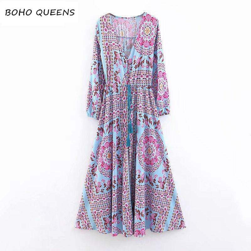 Boho Chic women flare sleeve Floral print tassel beach Bohemian midi dress Ladies rayon Summer vintage