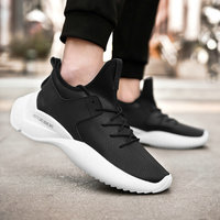 2019 New Men Black/ White Lightweight walking shoes mens Fashion Sneakers lace up breathable mesh casual shoes II 14Z