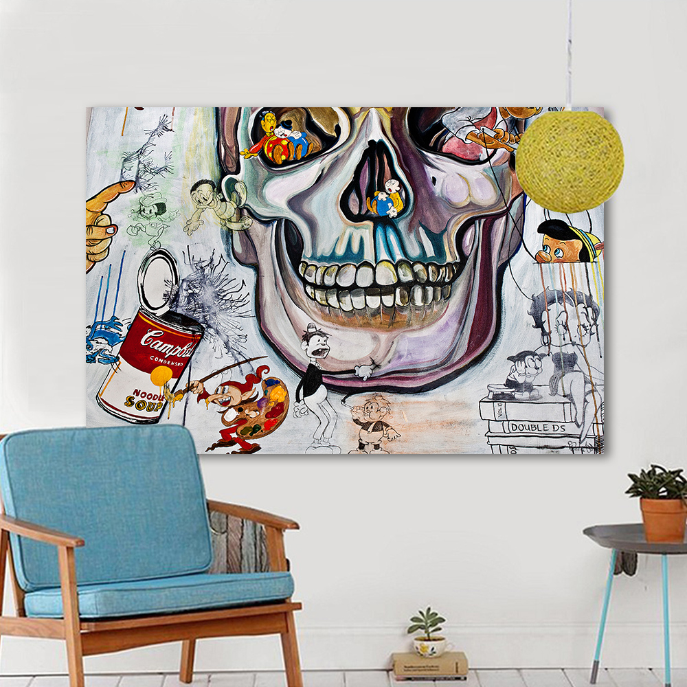Graffiti art home decor - Aliexpress Com Buy Hdartisan Canvas Art Graffiti Wall Pictures For Living Room The Skull Oil Painting Home Decor Printed Frameless From Reliable Picture