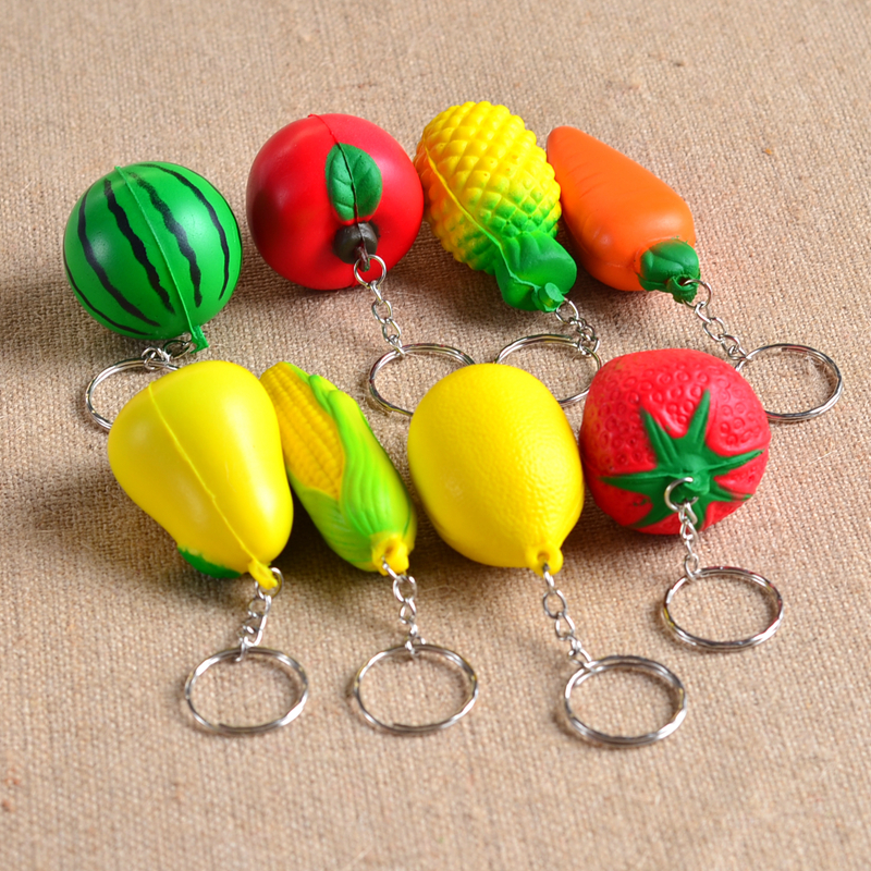 1 Pcs Cute Soft PU Fruit Food Foam Ball Shape Keychain Hamburger/Apple/Pear/Peach/Pumpkin/corn/watermelon Key Chain Accessories