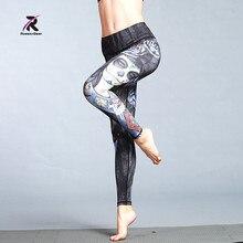 d90734dcfdd916 RuoskyGear 2017 Sexy Women Yoga Sport Leggings Fitness Workout Trousers 3D Black  Diamond Printing Slim Pants
