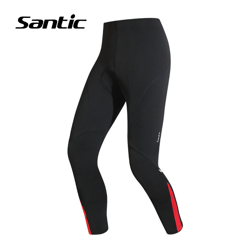 Santic Winter Cycling Pants Men Long Fleece Warm Windproof Sport Fitness Tights MTB Bike Pants Bicycle Clothing Padded Trousers santic cycling pants road mountain bicycle bike pants men winter fleece warm bib pants long mtb trousers downhill clothing 2017