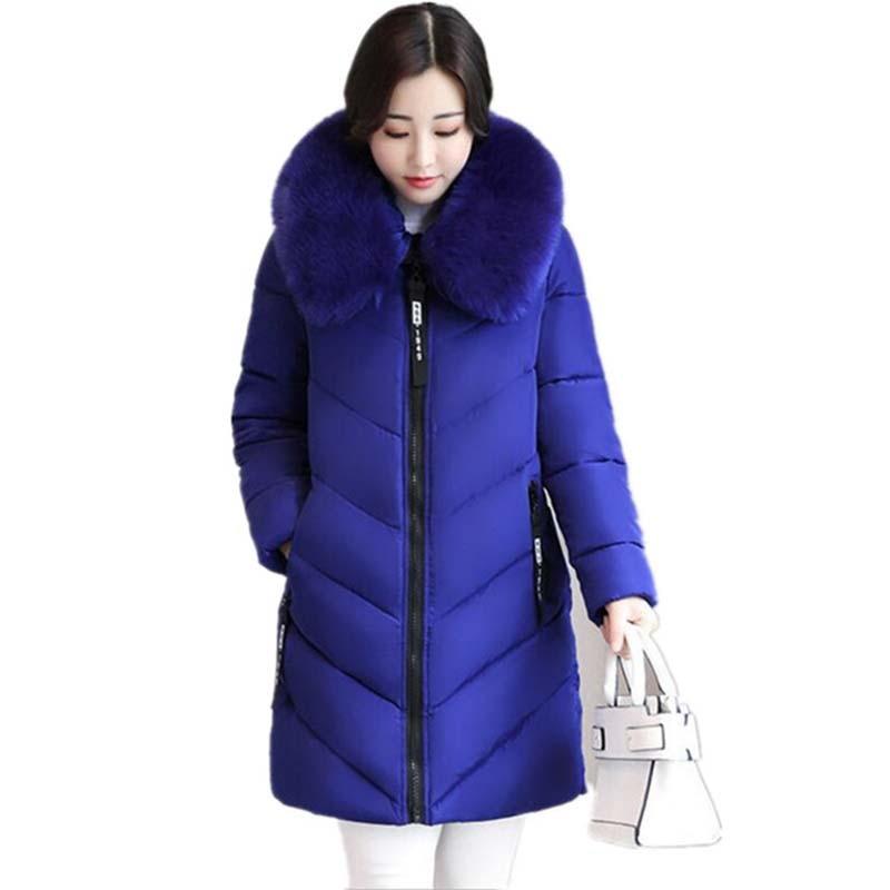 Plus Size 6XL Winter Women Down Cotton Medium-Long Jacket   Parka   Famale Hooded Fur Collar Wide-Waisted Warm Coat jaqueta feminina