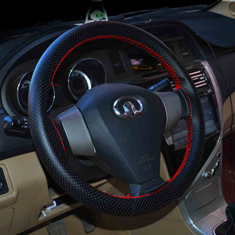 High Quality Genuine Leather Auto Car Steering Wheel Cover Soft Anti-slip Car Steering Cover Black Braid With Needles and Thread