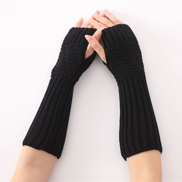 Newly 1pair New Hand Knitted Half Fingers Long Gloves For Women Warm Autumn/Winter Hand Arm Gloves VK-ING