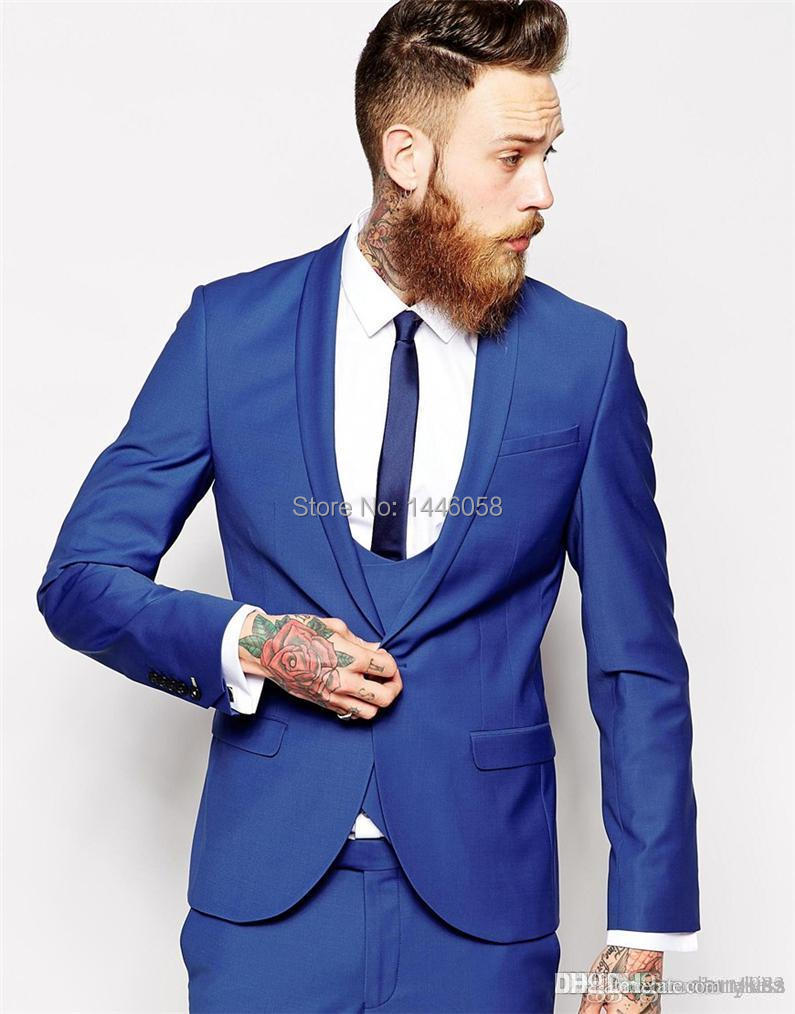 New Fashion 2017 Slim Fit Men Suits With Pants Men Wedding Groom Suits Royal Blue Groom Tuxedos For Men (Jacket+Pant+Vest+Tie)