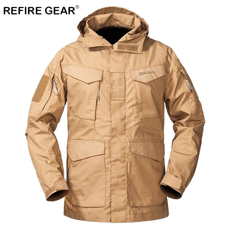 ReFire Gear Autumn M65 Outdoor Tactical Field Jacket Men Hoody Windproof Md-long Military Windbreaker Jackets Coat Army Clothing