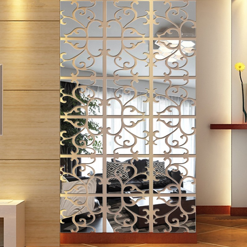 3D Acrylic Vines Flower Pattern Backdrop Living Room Bedroom Ceiling Mirror Wall Stickers Decorative