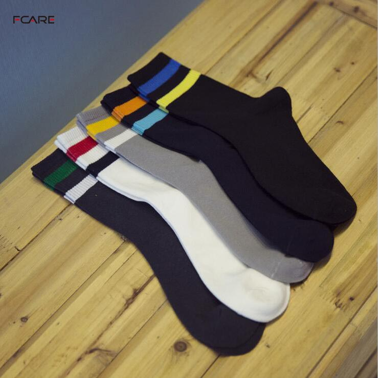 Fcare 10PCS=5 pairs 39 to 43 EU size mens spring and autumn crew color cotton striped socks