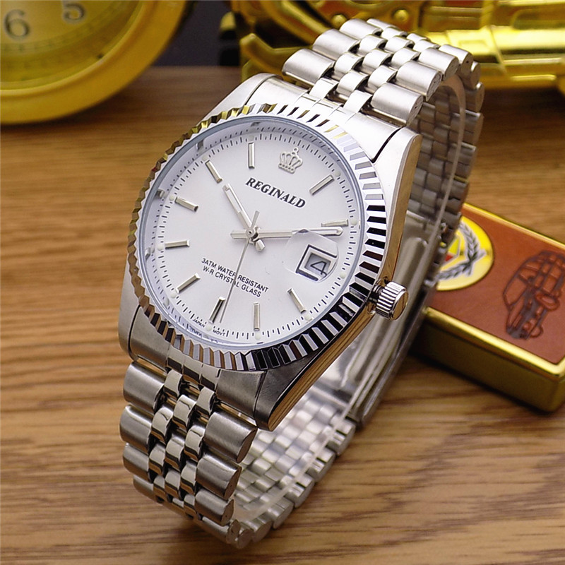 HK Fashion Brand REGINALD Waterproof Men Lady Lovers Full Stainless Steel With Calendar Watch Dress Business Gifts Wristwatches 2016 luxury hk reginald brand wristwatches fashion men dress gmt sapphire glass date full stainless steel dress quartz watches