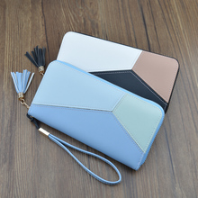 Women Long Wallets  Purses Contrast Color Wallets For Child Girl Money Coin Pocket Card Holder Female Wallets Phone Clutch Bag wallets href