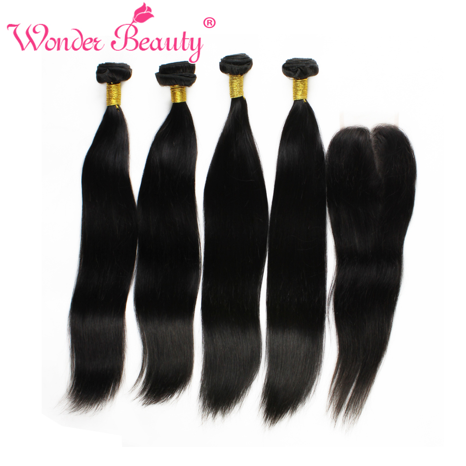 Wonder Beauty Malaysia Straight 4 Bundles With Closure 5 hair pieces non Remy Human Hair Weaves