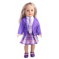 Purple Cute School Uniform Set For 18 Inch American Girl Doll For Baby Gift Doll Accessories