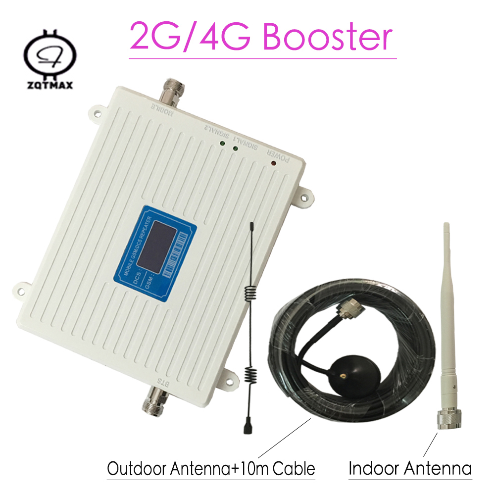 2g 4g Mobile Signal Booster 900 / 1800mhz Cellular Signal Cell Phone Repeater Gsm Amplifier With LCD Display Gsm Booster Antenna