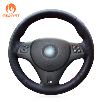MEWANT Black Artificial Leather Car Steering Wheel Cover for BMW M Sport M3 E90 E91 E92 E93 E87 E81 E82 E88 X1 E84 image