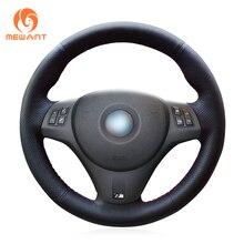Mewant preto couro artificial cobertura de volante do carro para bmw m sport m3 e90 e91 e92 e93 e87 e81 e82 e88 x1 e84
