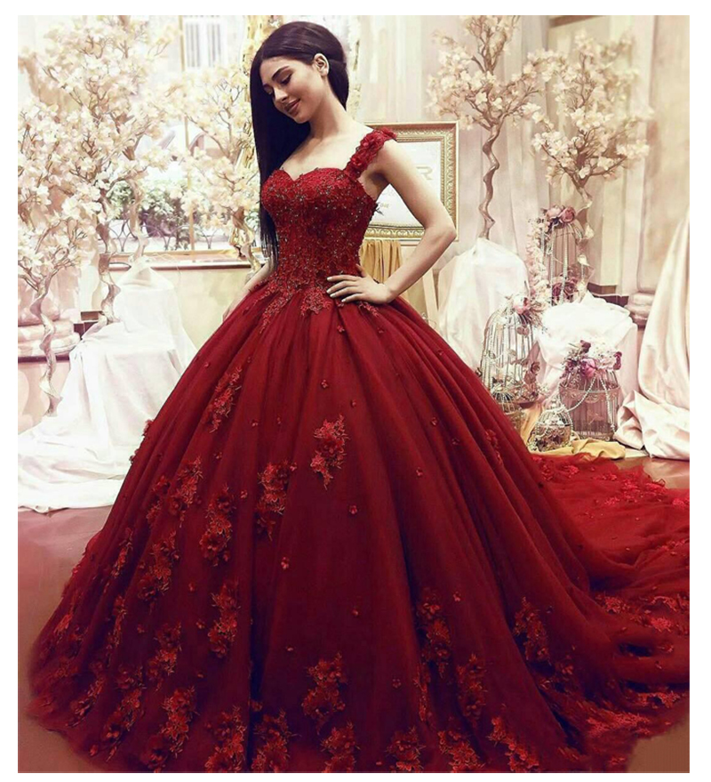 2019 Wedding Ball Gowns: Luxury African Red Sleeveless Wedding Dresses Ball Gown
