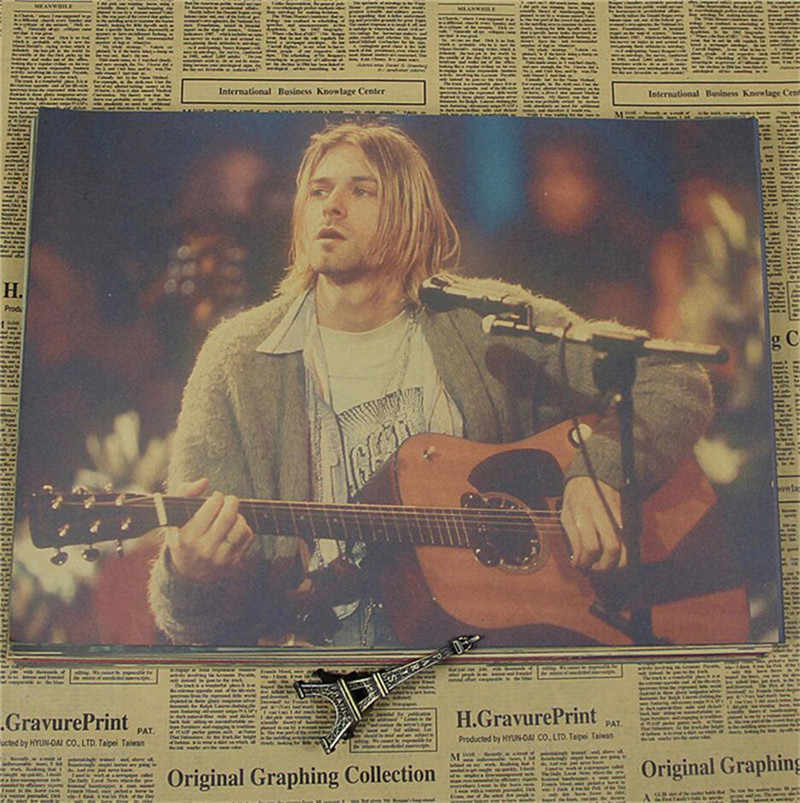 Kurt Cobain Nirvana Anime Retro Poster Rocker Cafe Bar Decor Kraft Paper Wall Sticker 42x30CM