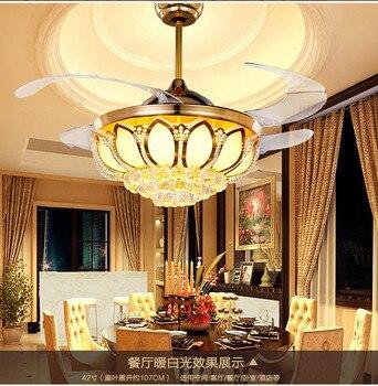 Tavan vantilatörleri K9 kristal Elektrolizle Altın lüks LED Fanlar ışık Görünmez VANTİLATÖR PERVANESİ telekontrol ayarlanabilir 32/36/42 inç