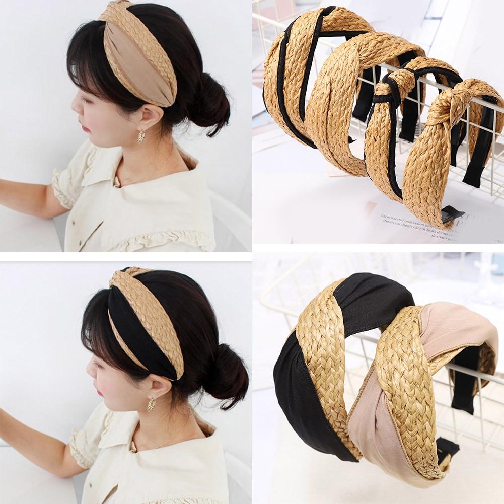 Bohemian Summer Straw Weaving Top Knotted Hair Accessories Solid Cross Handmade Wide Headband Fashion Novel Hairband Hot Sale