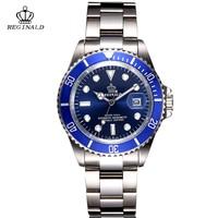 REGINALD Crown men watch business casual men's Steel calendar Japan waterproof calendar 2018 Quartz Wrist watches for men clock
