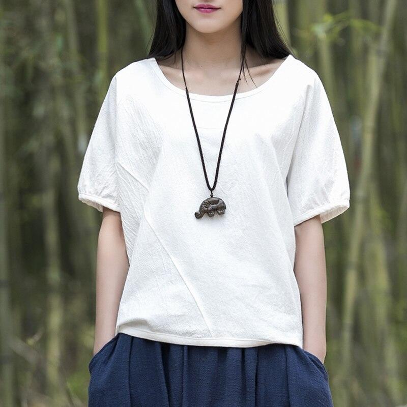 Algodón sólido o-cuello manga corta Mujer blusa camisa kawaii causal verano  Camisas Blusas Marca Diseño Tops b115 7fceabd88ddf