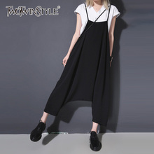07153e7300bc TWOTWINSTYLE Suspenders Pant For Women Black High Waist Long Haren Jumpsuits  2018 Spring Big Size Female Fashion Casual Clothing