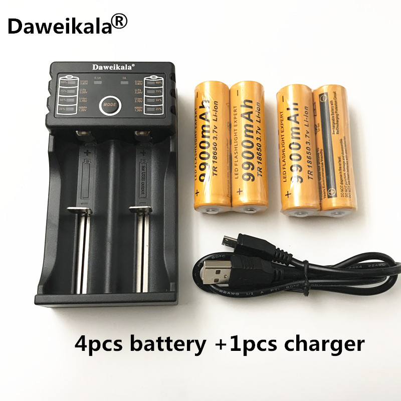 4pcs Brand new battery 18650 3.7 V 9900 MAH Li ion rechargeable battery 18650 batery +1pcs 18650 battery charger intelligent