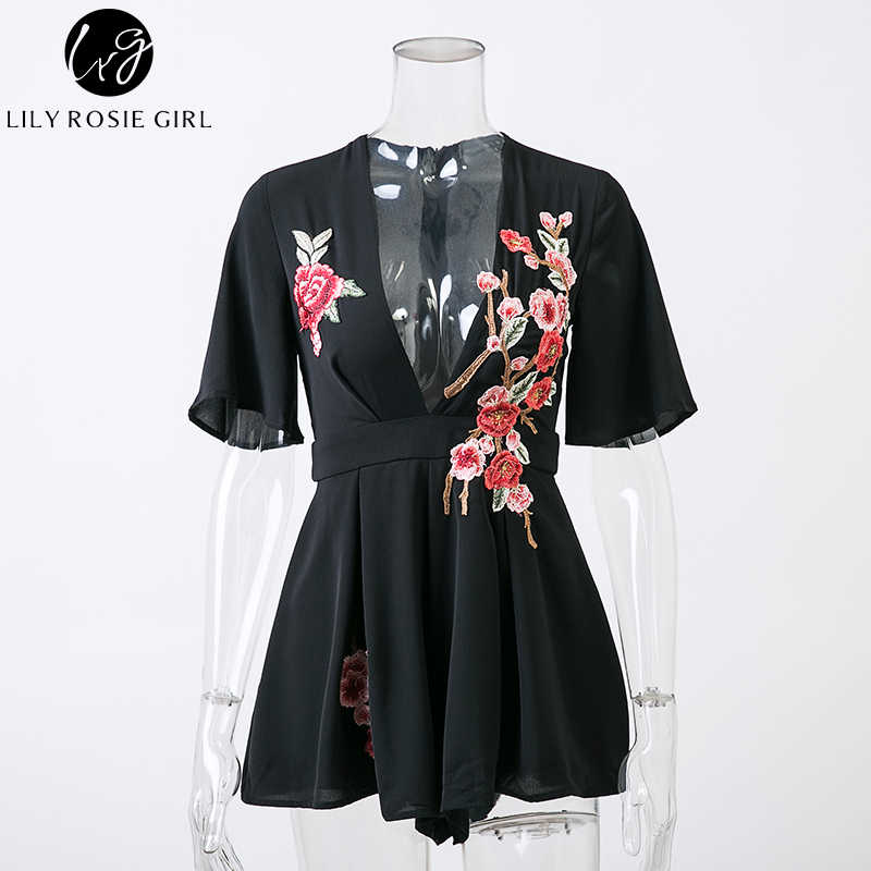 906248e445 ... Lily Rosie Girl Deep V Neck Black Embroidery Sexy Playsuits Women  Summer Beach Bow Short Rompers ...
