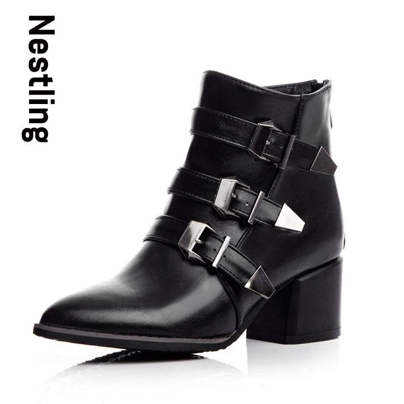 New 2016 Fashion Motorcycle Boots Autumn High Heels Shoes Woman Leather Ankle Boots Sexy Pointed Toe ladies Martin Boots цены онлайн