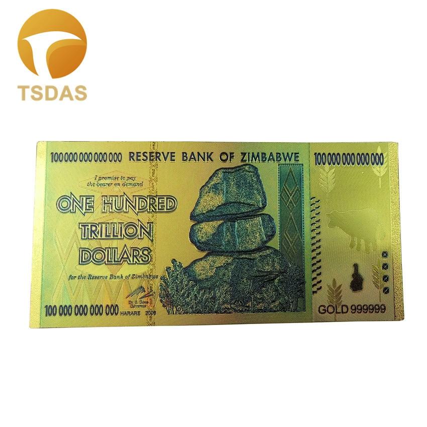 1x Zimbabwe 100 Trillion Banknote Gold Bill World Money Value Collection Gift